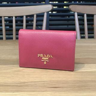 PRADA - 美品 プラダ カードケース サフィアーノ ペオニア ピンク 二つ折り 名刺入れ