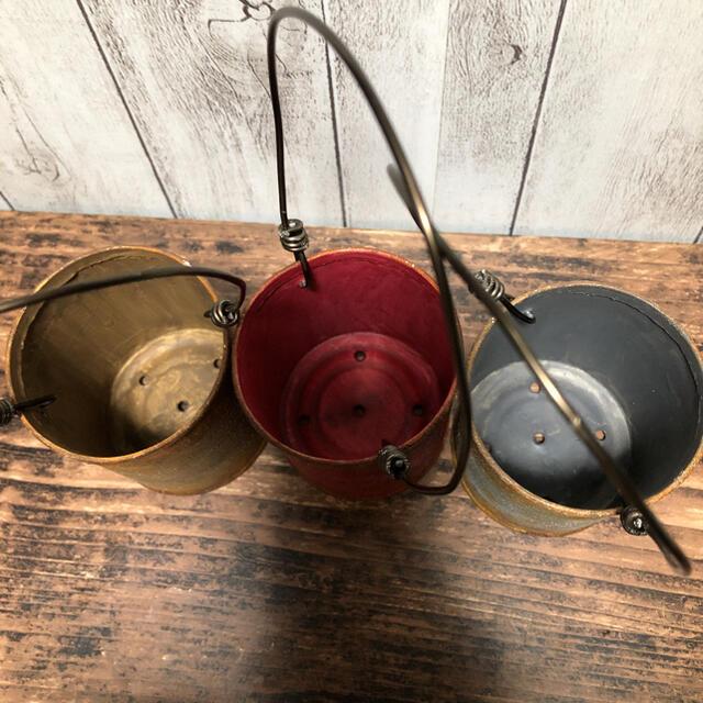 リメイク缶 サビ風グレーレッドブラウン3個セット ハンドメイドのフラワー/ガーデン(プランター)の商品写真