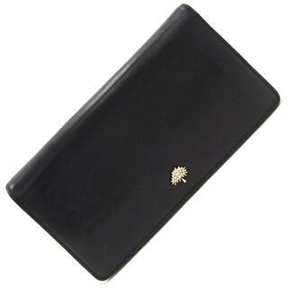 マルベリー(Mulberry)の マルベリー 二つ折り長財布 ブラック レザー 中古 黒(財布)