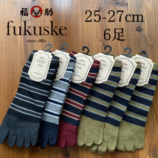 fukuske - 靴下 fukuske FUN 高品質 5本指 スニーカー丈 ソックス ボーダー