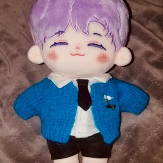 kpop 15、20cmセンチぬいぐるみ用服 青セーターカーディガン ぬい服