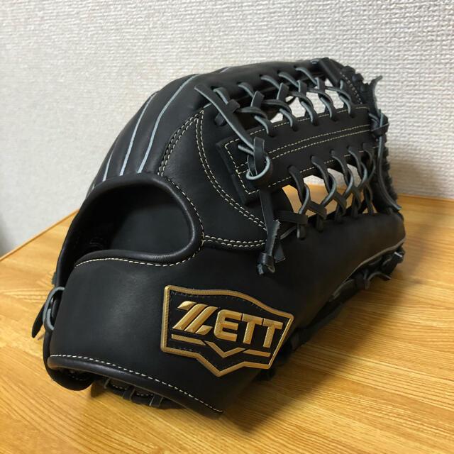 ZETT(ゼット)のZETT ネオステイタス 硬式グローブ 黒 外野手用 リキッドオイル付 スポーツ/アウトドアの野球(グローブ)の商品写真