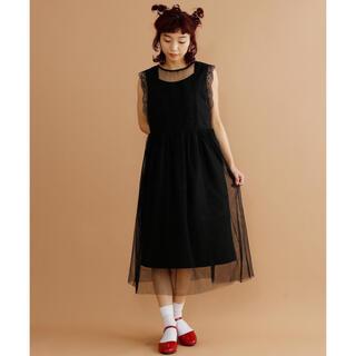 メルロー(merlot)のmerlot plus レーストップチュールスカート ワンピース ブラック(ミディアムドレス)