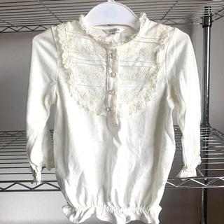 エニィファム(anyFAM)の✧︎ベビー服✧︎女の子✧︎90cm✧︎白フリルトップス✧︎タイツ(Tシャツ/カットソー)