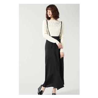 ROSE BUD - ローズバッドROSEBUDサスペンダースカート黒フレア巻きスカートラップスカート