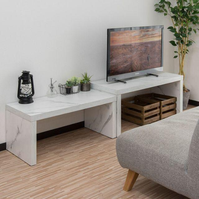 新品 大理石柄 大小2つセットのローテーブル テレビ台にも インテリア/住まい/日用品の机/テーブル(ローテーブル)の商品写真