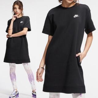 ナイキ(NIKE)の新品 NIKE ナイキ テックフリースドレス 半袖 ワンピース ブラック 黒 S(ミニワンピース)