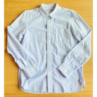 ムジルシリョウヒン(MUJI (無印良品))の無印良品 オーガニックコットンブロードストライプシャツ ブルー Mサイズ(シャツ)