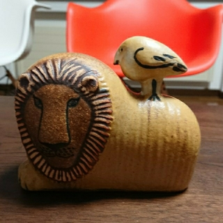 Lisa Larson - リサラーソン Lion with Bird ライオンと鳥
