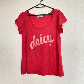 デイシー(deicy)のdeicy(デイシー)カットオフネックロゴプリントTシャツ フレンチスリーブ 赤(Tシャツ(半袖/袖なし))