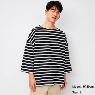 GU - 完売 GU ジーユー S ワイドフィットボートネックTシャツ ボーダー メンズ