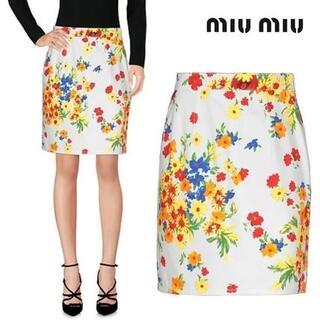 miumiu - miumiu♡フローラル 花柄 ロゴ スカート