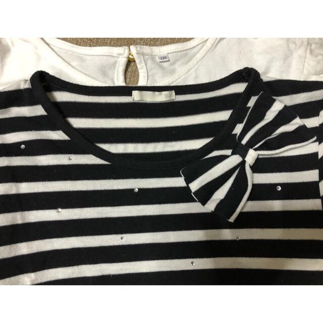 GU(ジーユー)のモノクロ ワンピース カットソー 女児 150 キッズ/ベビー/マタニティのキッズ服女の子用(90cm~)(ワンピース)の商品写真