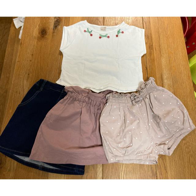 petit main(プティマイン)の[お得]Tシャツ&スカート2枚セット キッズ/ベビー/マタニティのキッズ服女の子用(90cm~)(Tシャツ/カットソー)の商品写真