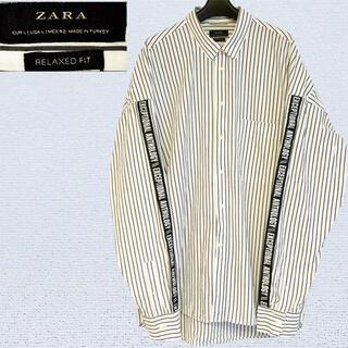 ZARA - ZARA ストライプ シャツ オーバーサイズ Lサイズ 袖 文字