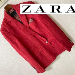 ZARA - 新品同◆ZARA MAN ザラマン◆麻 リネン100 テーラード ジャケット 赤