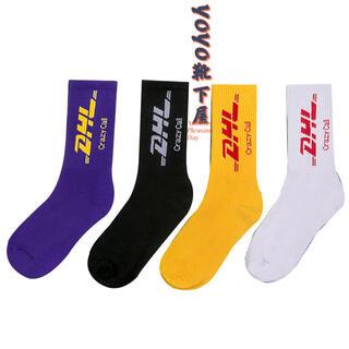 ストリート系ソックス 【4足セット】DHL柄 韓国靴下 スケボー ソックス 靴下