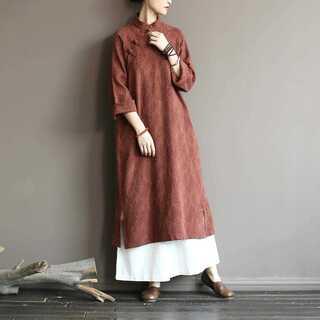 チャイナドレス レディース ジャガード ドレス 長袖 ロング丈 体型カバー 綿麻