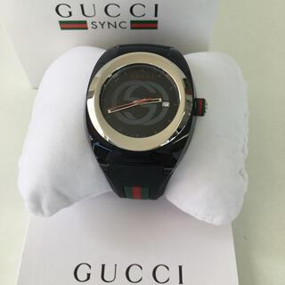 Gucci - ☆美品☆GUCCI SYNC メンズ レディース 腕時計 ブラック ラバーバンド