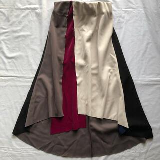 アシンメトリー デザイン ブロッキング スカート (ロングスカート)