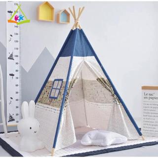 超美品 キッズテント オシャレ 子供 木製 室内テント 屋外 秘密基地 (テント/タープ)