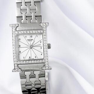 Hermes - 【仕上済】エルメス Hウォッチ シルバー ブレス ダイヤ レディース 腕時計