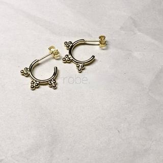 112.pebbly hoop pierce【gold】