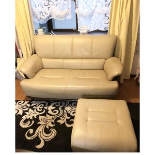 カリモクカグ(カリモク家具)のノリ様専用✴︎ソファー2人掛け+オットマン✴︎レザー(二人掛けソファ)