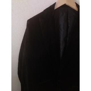 タケオキクチ(TAKEO KIKUCHI)の【美品】TAKEO KIKUCHI スウェード テーラードジャケット ブラック(テーラードジャケット)