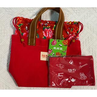 カルディ(KALDI)のカルディ 帆布トートバッグ 台湾  赤(トートバッグ)