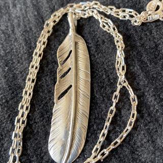 フェザー ネックレス silver925  手彫り 本物 あずきチェーン