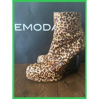 EMODA - 【早い者勝ち・雑誌掲載商品】EMODA ピンヒールウェッジショートブーツ(豹柄)