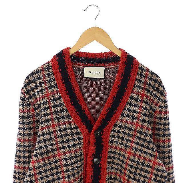 Gucci(グッチ)のグッチ GU156 チェックニットカーディガン 長袖 S 赤 ベージュ 紺 メンズのトップス(カーディガン)の商品写真