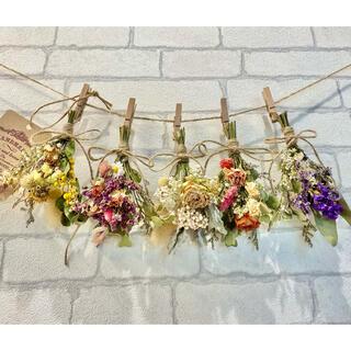 ドライフラワー スワッグ ガーランド❁203 カラフル 薔薇 ミモザ 花束♪(ドライフラワー)