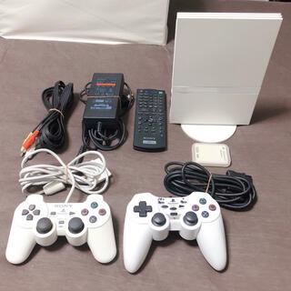 プレイステーション2(PlayStation2)の美品 プレイステーション2 本体 ホワイト 薄型 SCPH-75000(家庭用ゲーム機本体)