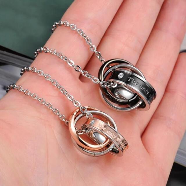 【2点セット】ペア/トリプルリングネックレス メンズのアクセサリー(ネックレス)の商品写真