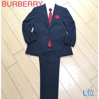 バーバリー(BURBERRY)の極美品★バーバリー×極上グレーストライプ春夏スーツ 灰 背抜き 清涼感◎A887(セットアップ)