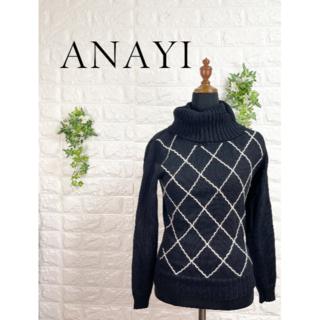 ANAYI - 336 アナイ 刺繍 ニット トップス 黒 ブラック M カットソー