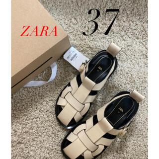 ZARA - 新品 ZARA ザラ レザーフラットサンダル フラットケージサンダル 37