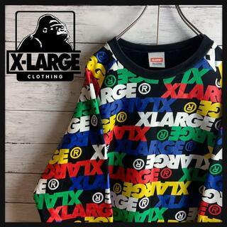 XLARGE - 【希少デザイン】エクストララージ ロゴ総柄プリント厚手スウェット ストリート