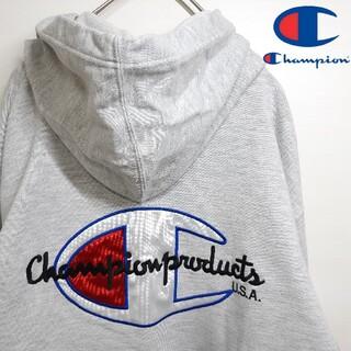チャンピオン(Champion)のチャンピオン ビッグロゴ 刺繍 プルオーバー パーカー グレー 古着 L(パーカー)