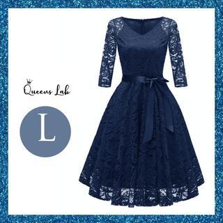 ドレス パーティードレス レディース 結婚式 七分袖 かわいい ワンピース L(その他ドレス)