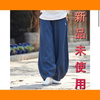 綿麻 とろみ ワイドパンツ ゆるとろ 楽ちん コットン【 L / ネイビー 】(カジュアルパンツ)