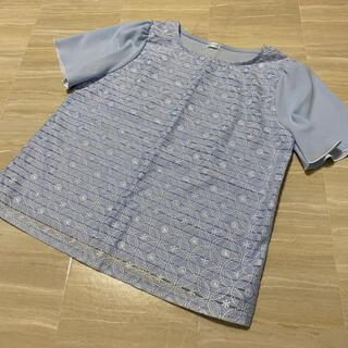 イオン(AEON)のイオン ペルソデア トップス 半袖 水色 刺繍 Lサイズ(Tシャツ(半袖/袖なし))