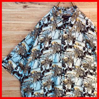 【高級レーヨン】IVY CREW アロハシャツ 総柄 XL アメリカ古着
