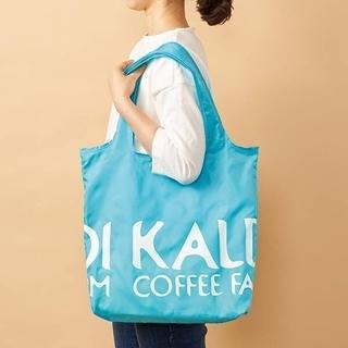カルディ(KALDI)のKALDI カルディ 折りたたみ エコバッグ 水色 青 ブルー(エコバッグ)