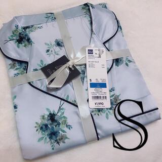 GU - gu サテンパジャマ フラワー 水色 Sサイズ ルームウェア