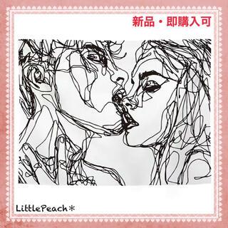韓国インテリア 布ポスター 線画ポスター ファブリックポスター 【KISS01】(その他)