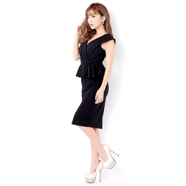 dazzy store(デイジーストア)のデイジーストア ペプラム 膝丈 ミディアム タイトドレス レディースのフォーマル/ドレス(ミディアムドレス)の商品写真