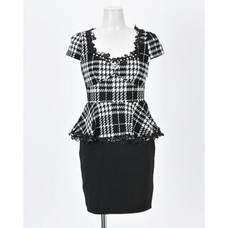 dazzy store - デイジーストア ビジュー チェック ペプラム ドレス